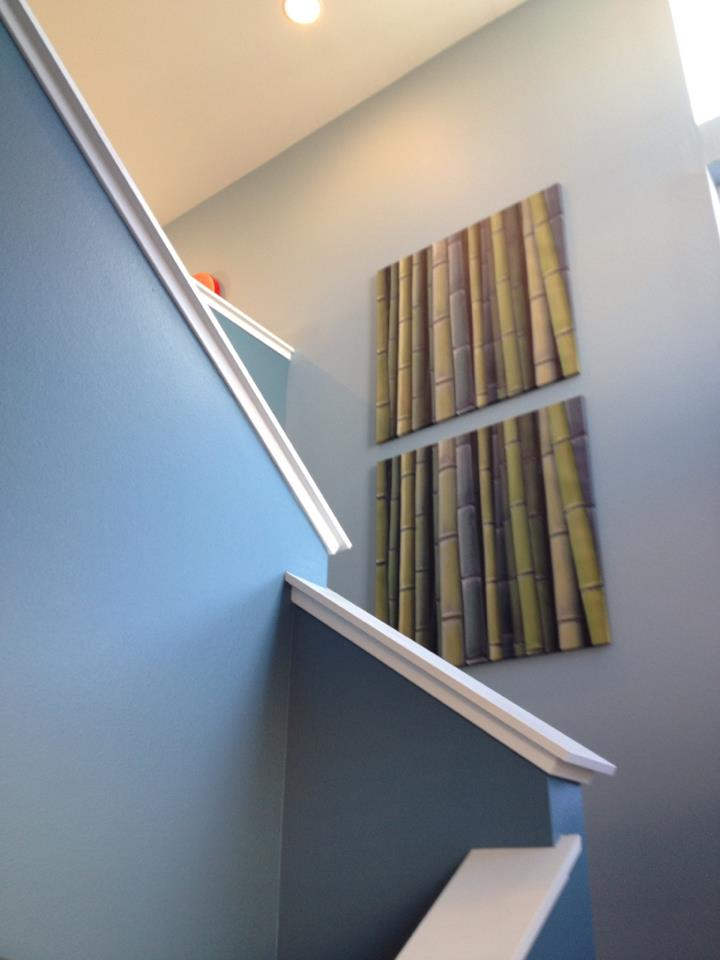grey painted stairway contemporary