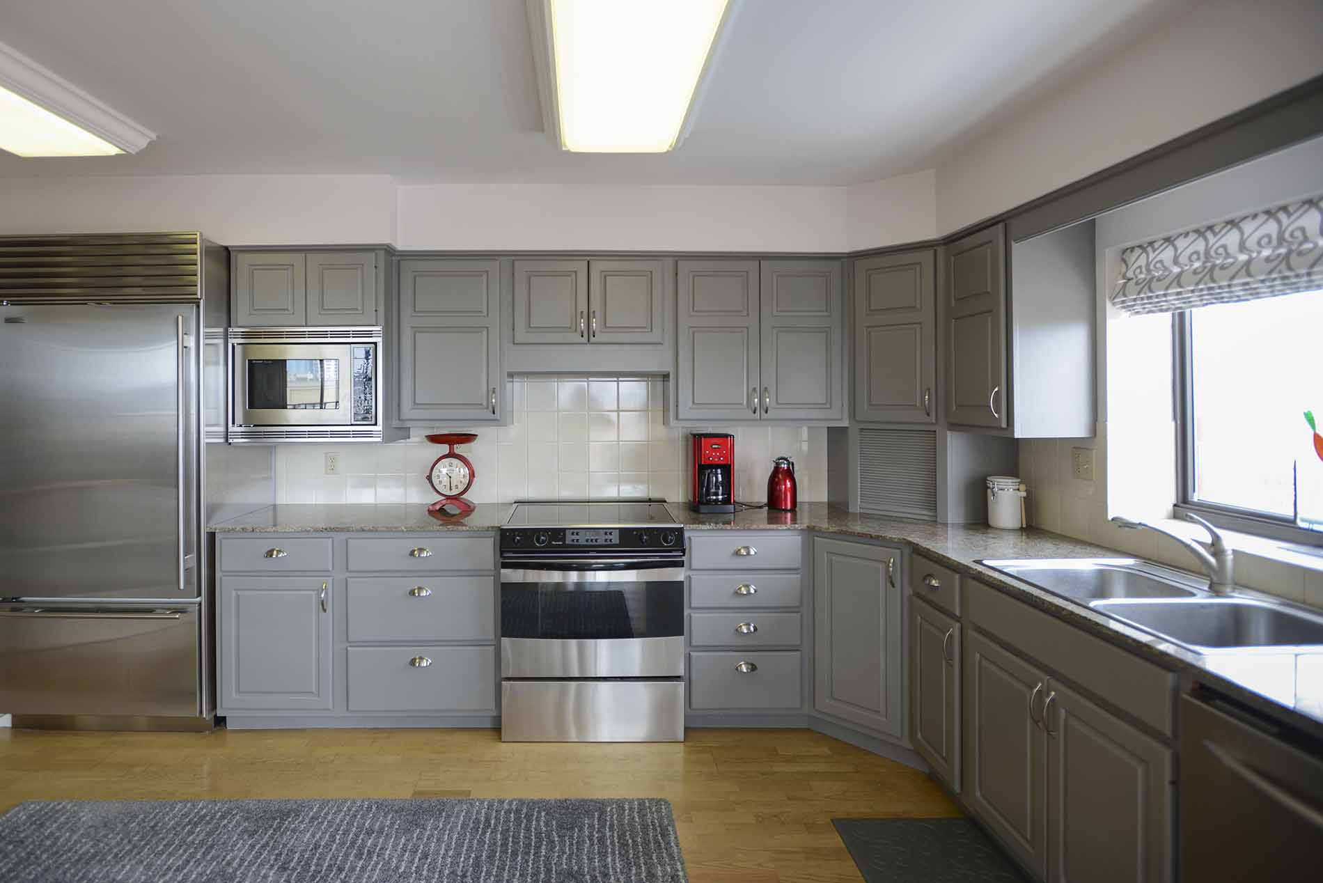 Gray Walls White Cabinets Kitchen